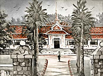 Painting of the Royal Palace in Luang Prabang by Asienreisender