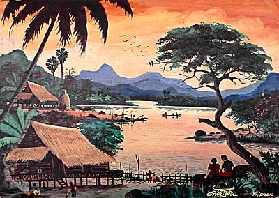 Idyllic Painting of a Mekong Scenery by Asienreisender