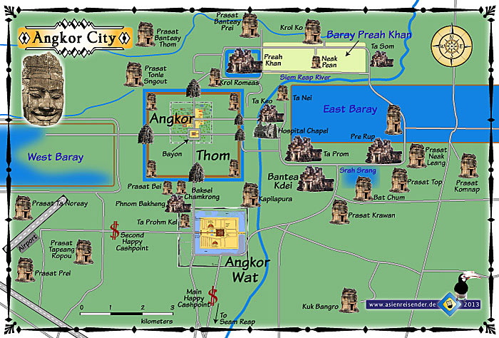 Map of Ancient Angkor City by Asienreisender