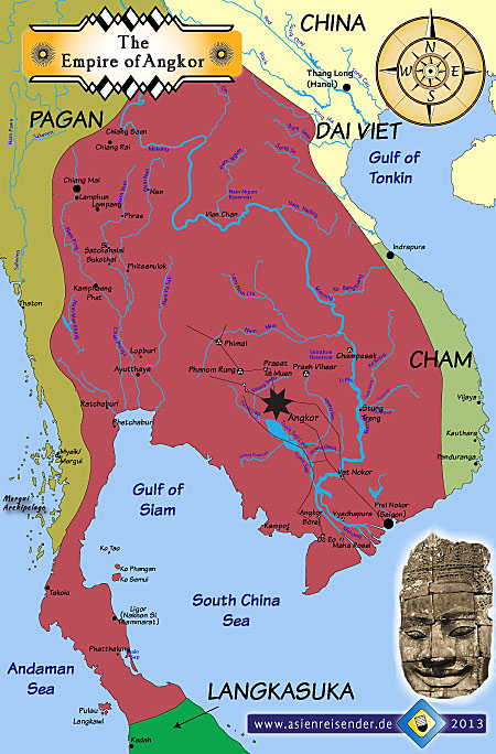 Map of the Khmer  Empire of Angkor around 1200 CE
