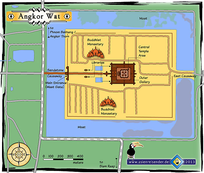 Map of Angkor Wat by Asienreisender