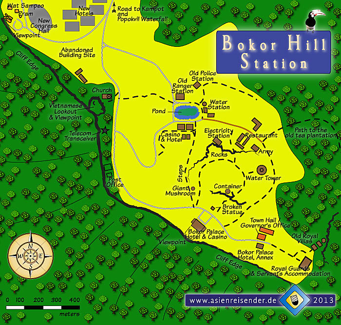 Map of Bokor Hill Station by Asienreisender