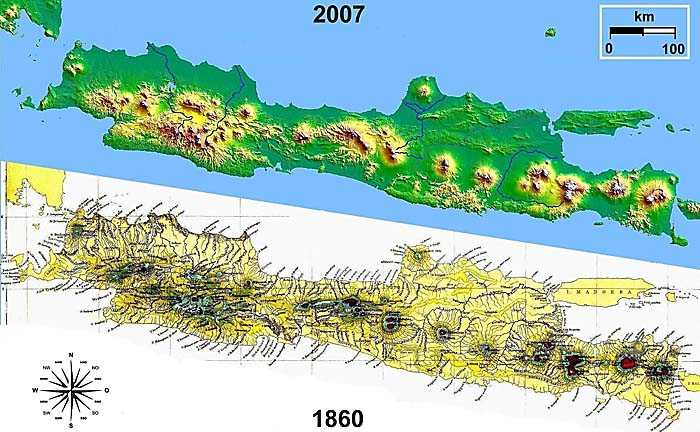 Junghuhn's Map of Java (1860) and a Satellite Image from 2007