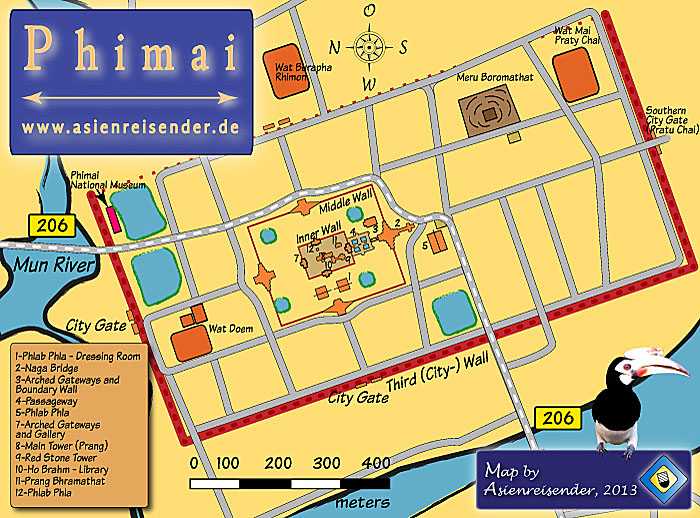 Map of Phimai Historical Park and Town