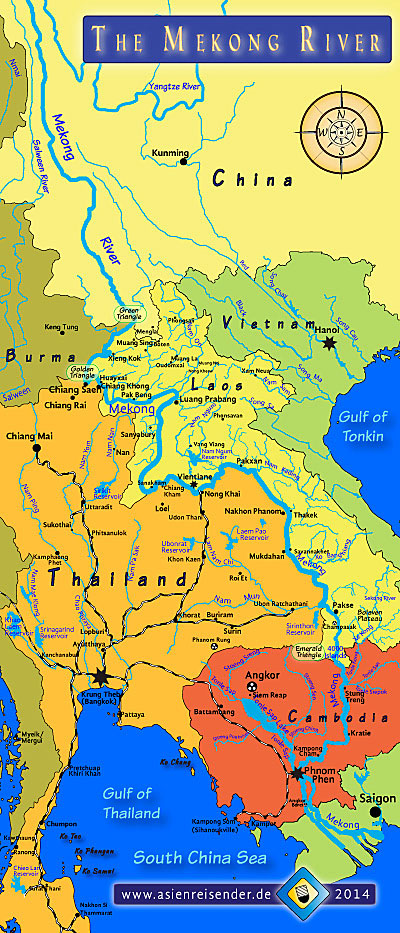 Map of the Course of the Mekong River by Asienreisender