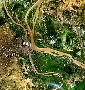 Satellite Image of the Confluence of Tonle Sap and Mekong River at Phnom Penh