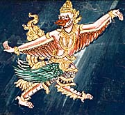 A Garuda Painting in a Temple on Don Khone by Asienreisender