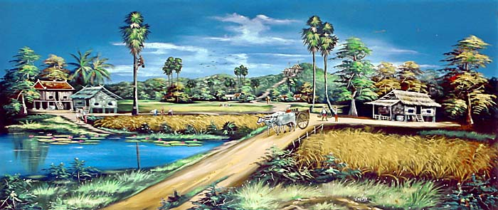 Rural Cambodia in a Painting by Asienreisender