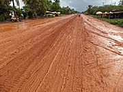 Slippery Dirt Road in Cambodia in the Rainy Season by Asienreisender