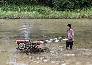 Rice Farmer with a tractor by Asienreisender