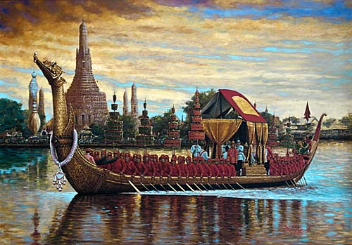 Royal Barge on the Chao Phraya River in Bangkok by Asienreisender