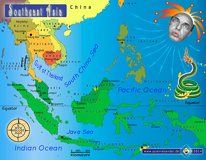 Political (Country) Map of Southeast Asia by Asienreisender