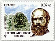 Stamp with Henri Mouhot on it