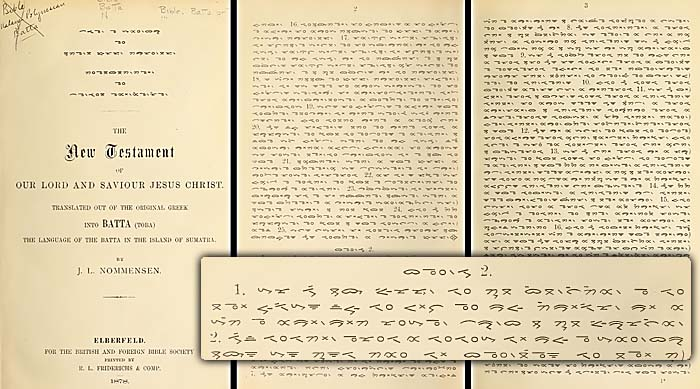 'Batak Bible, translated from Greec into Batak Language by Ludwig Ingwer Nommensen'