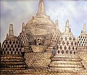 A contemporary Painting of the uppest Part of Borobodur | Image by Asienreisender