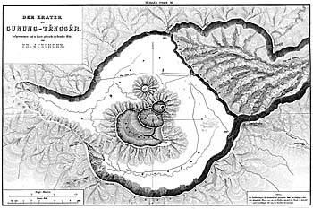 Map of the Ancient Tengger Volcano by Franz Wilhelm Junghuhn, 1844