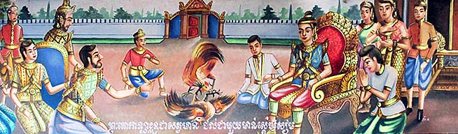 'Painting of a Cockfight in a Buddhist Temple' by Asienreisender