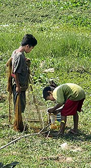 'Khmer Boys with Fishing Equipment' by Asienreisender
