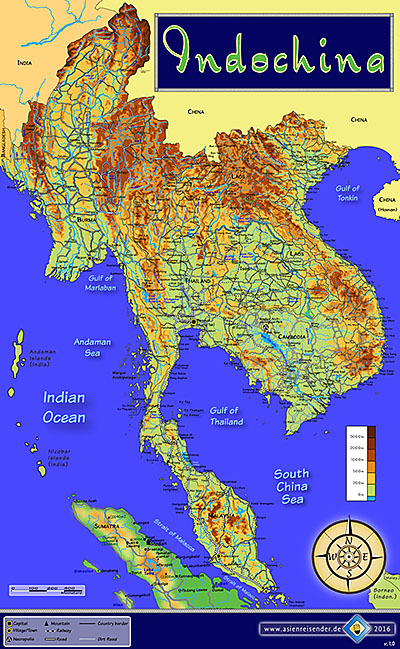 'Topographic Map of Indochina' by Asienreisender