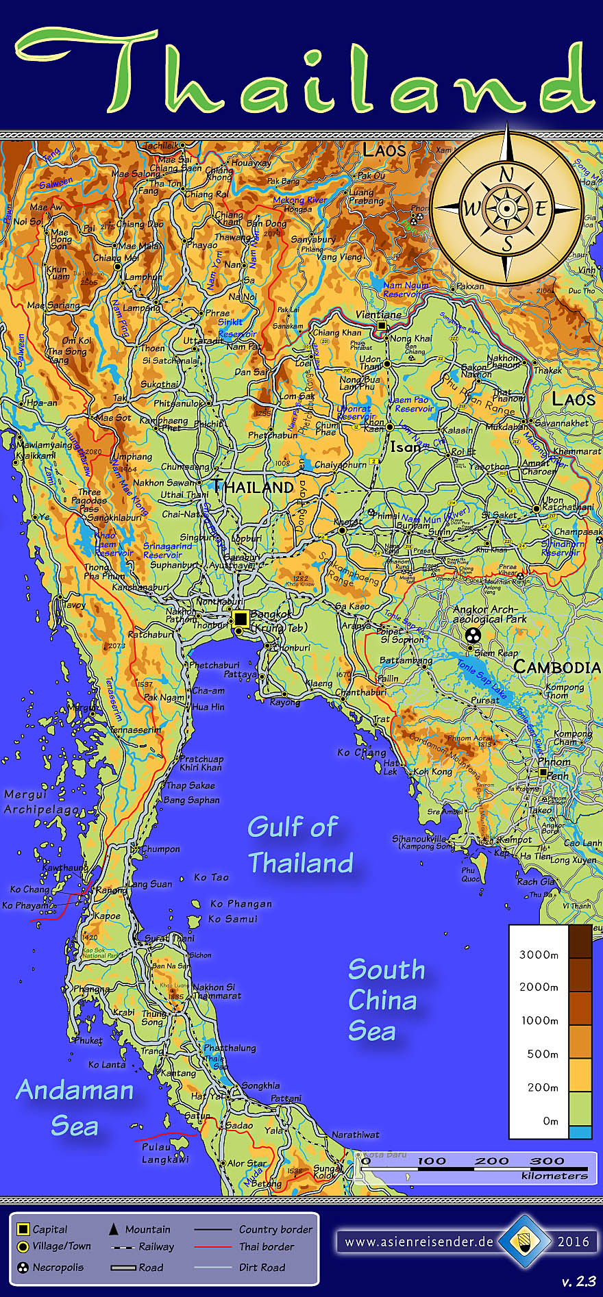 'Topographic, Interactive Map of Thailand' by Asienreisender