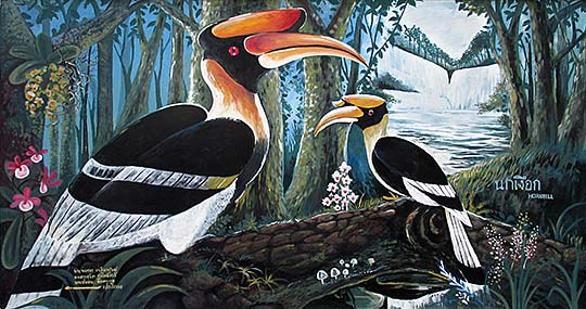 'Painting of Two Hornbills at the Outer Walls of Dusit Zoo | Bangkok' by Asienreisender