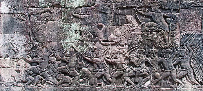 'Battle Scene in the Bas Reliefs of Bayon' by Asienreisender